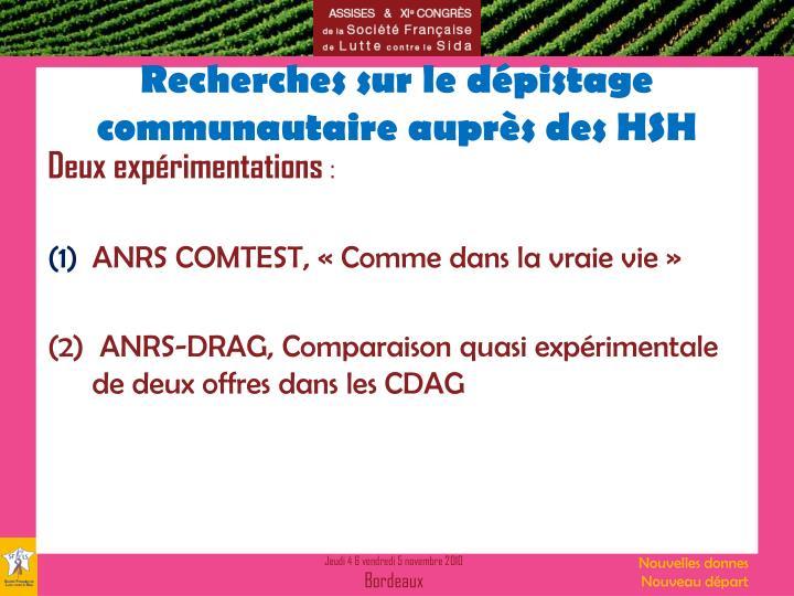 Recherches sur le dépistage communautaire auprès des HSH