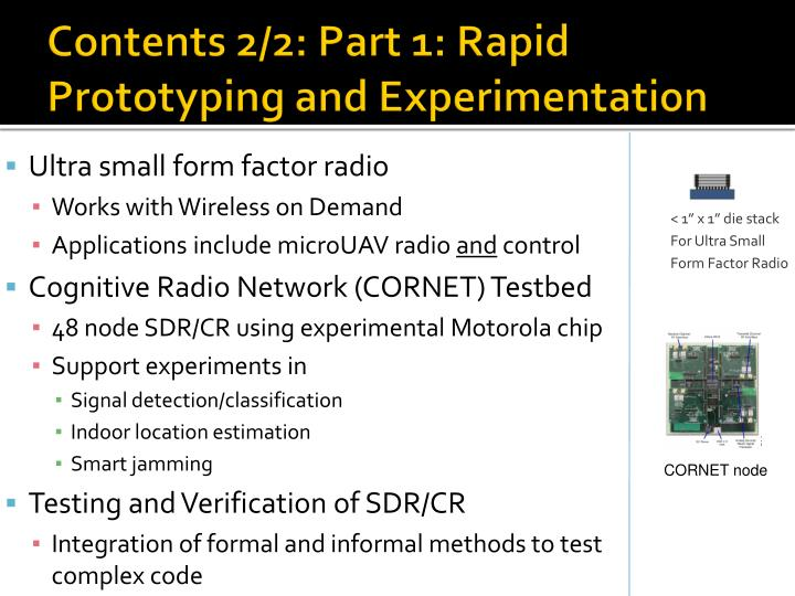 Contents 2/2: Part 1: Rapid Prototyping and Experimentation