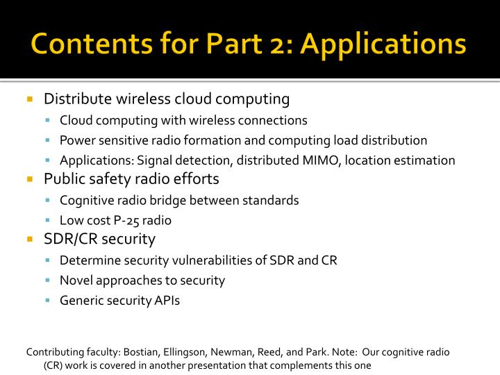 Contents for Part 2: Applications