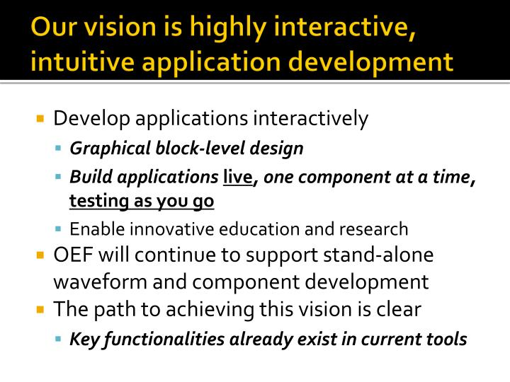 Our vision is highly interactive, intuitive application development