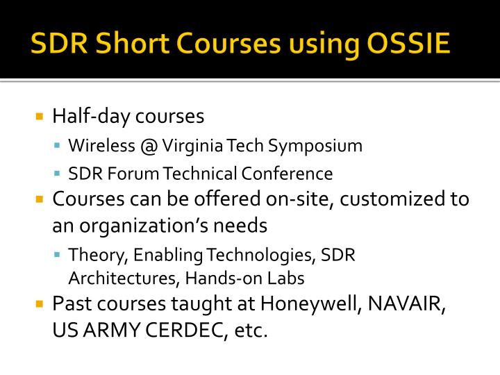 SDR Short Courses using OSSIE