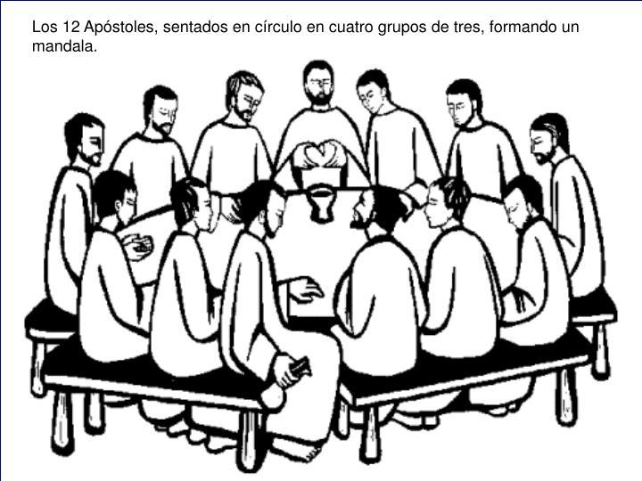 Los 12 Apóstoles, sentados en círculo en cuatro grupos de tres, formando un