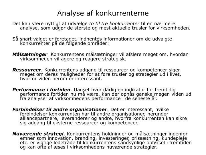 Analyse af konkurrenterne
