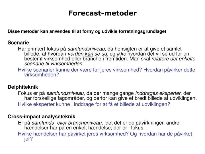 Forecast-metoder