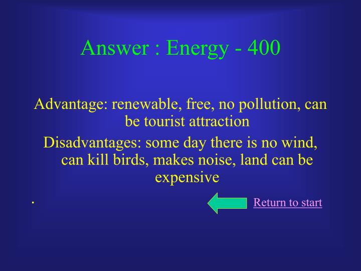 Answer : Energy - 400