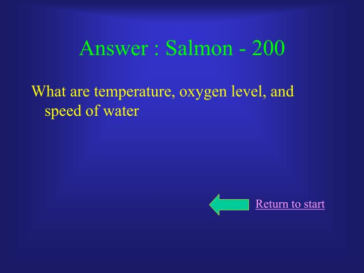 Answer : Salmon - 200