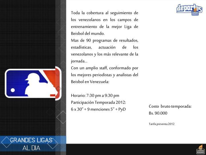 Toda la cobertura al seguimiento de los venezolanos en los campos de entrenamiento de la mejor Liga de Beisbol del mundo.