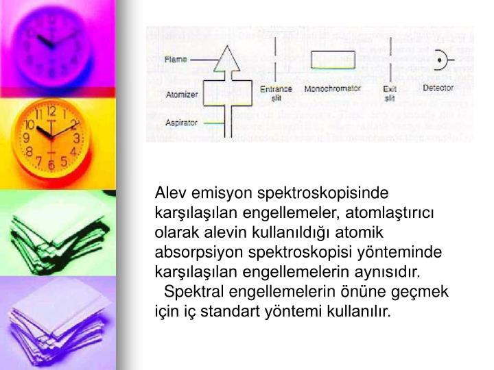 Alev emisyon spektroskopisinde karlalan engellemeler, atomlatrc olarak alevin kullanld atomik absorpsiyon spektroskopisi ynteminde karlalan engellemelerin aynsdr.