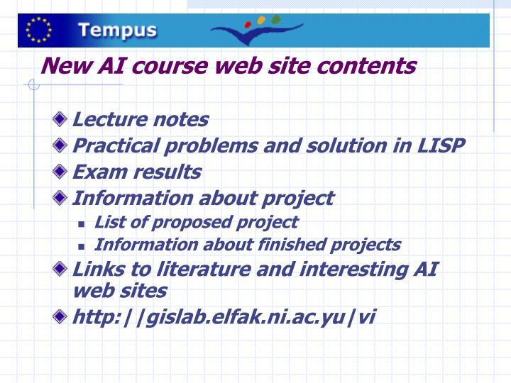 New AI course web site contents