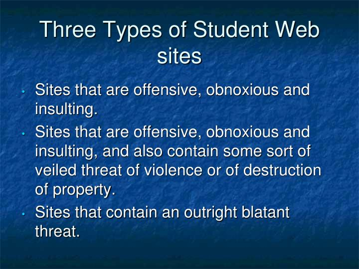 Three Types of Student Web sites