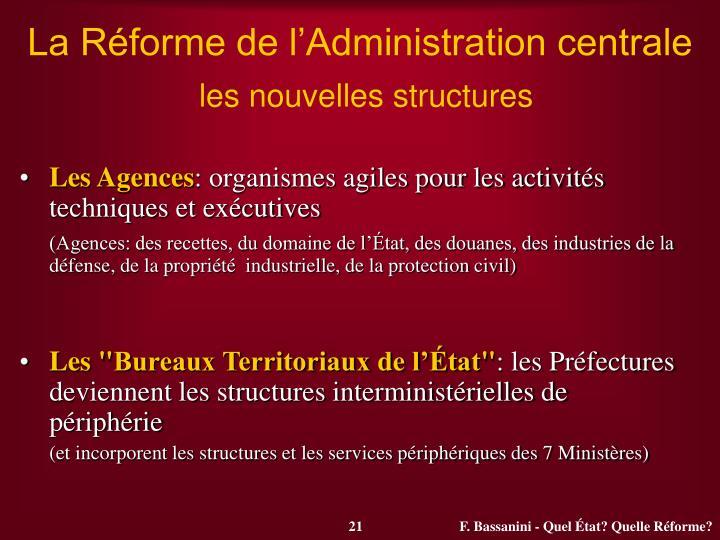La Réforme de l'Administration centrale
