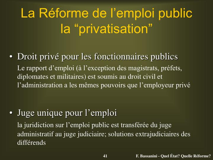 La Réforme de l'emploi public
