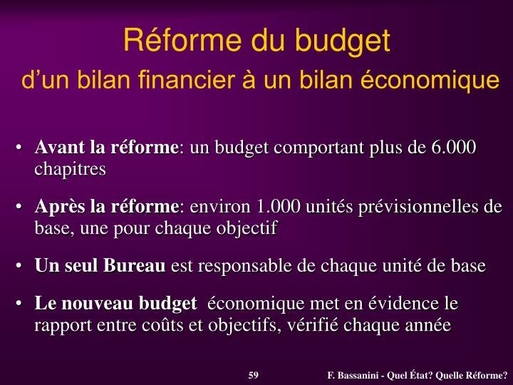 Réforme du budget