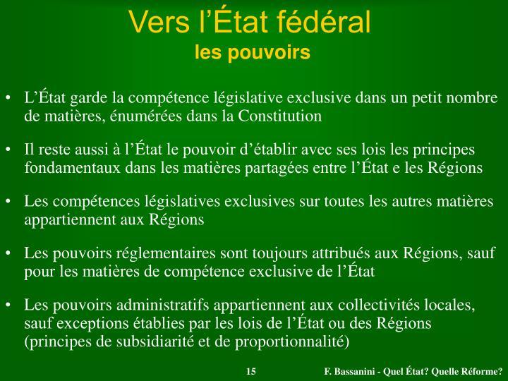Vers l'État fédéral