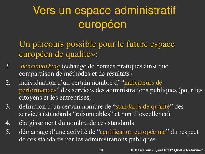 Vers un espace administratif