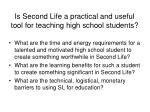 is second life a practical and useful tool for teaching high school students