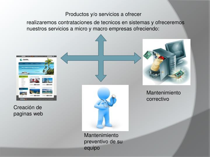 Productos y/o servicios a ofrecer