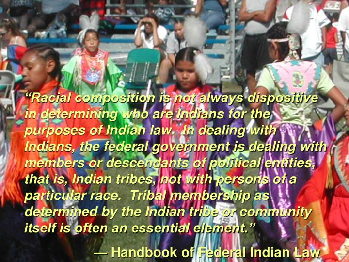 """Racial composition is not always dispositive in determining who are Indians for the purposes of Indian law.  In dealing with Indians, the federal government is dealing with members or descendants of political entities, that is, Indian tribes, not with persons of a particular race.  Tribal membership as determined by the Indian tribe or community itself is often an essential element."""