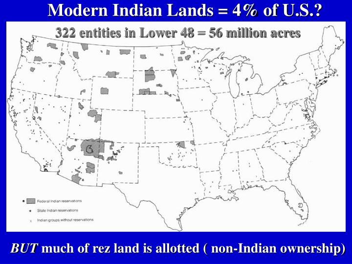 Modern Indian Lands = 4% of U.S.?