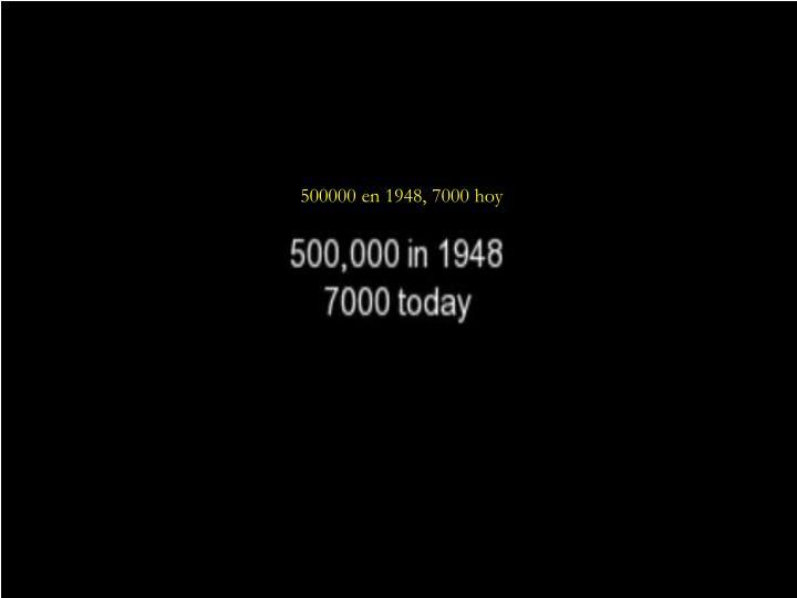 500000 en 1948, 7000 hoy
