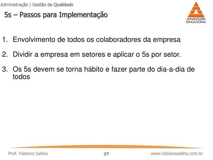 5s – Passos para Implementação