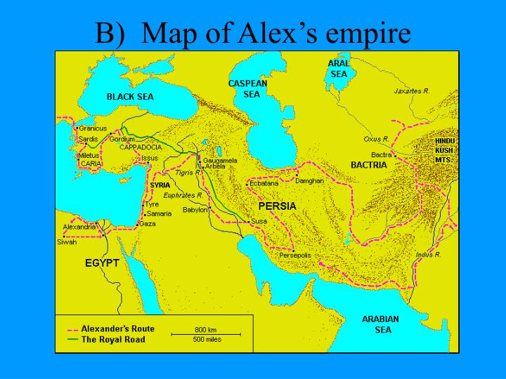 B)  Map of Alex's empire