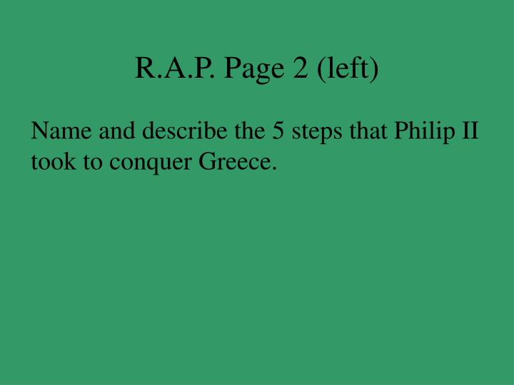 R.A.P. Page 2 (left)