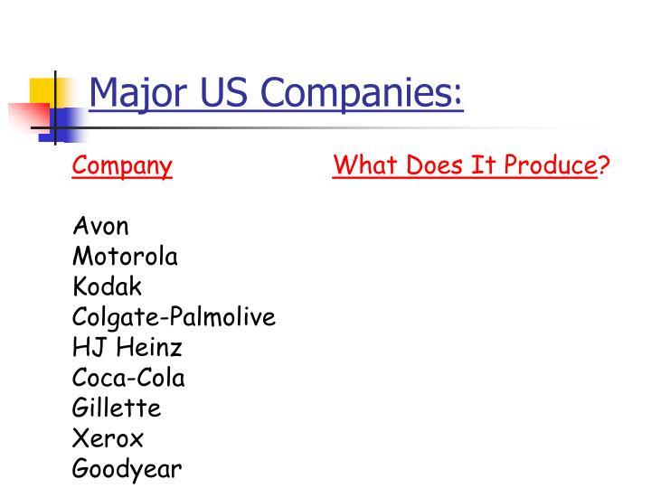 Major US Companies
