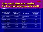 how much data are needed for the continuing on site visit