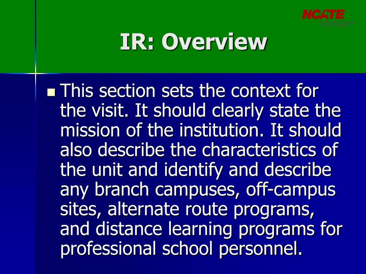 IR: Overview