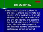 ir overview