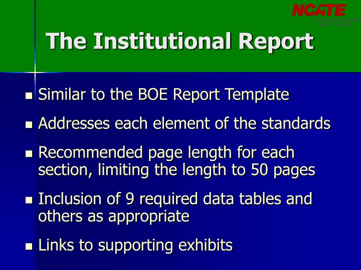 The Institutional Report