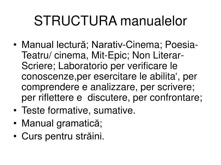 STRUCTURA manualelor