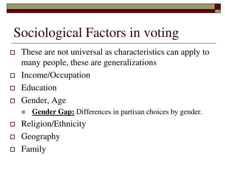Sociological Factors in voting