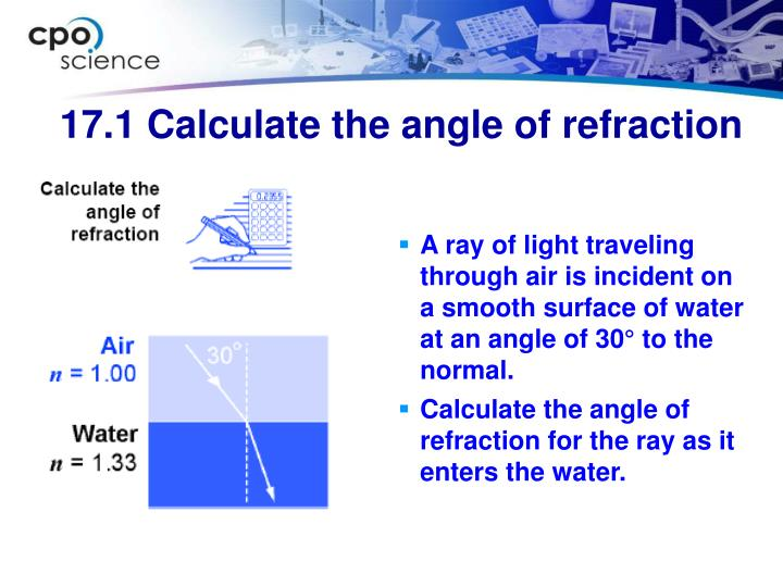 A ray of light traveling through air is incident on a smooth surface of water at an angle of 30° to the normal.