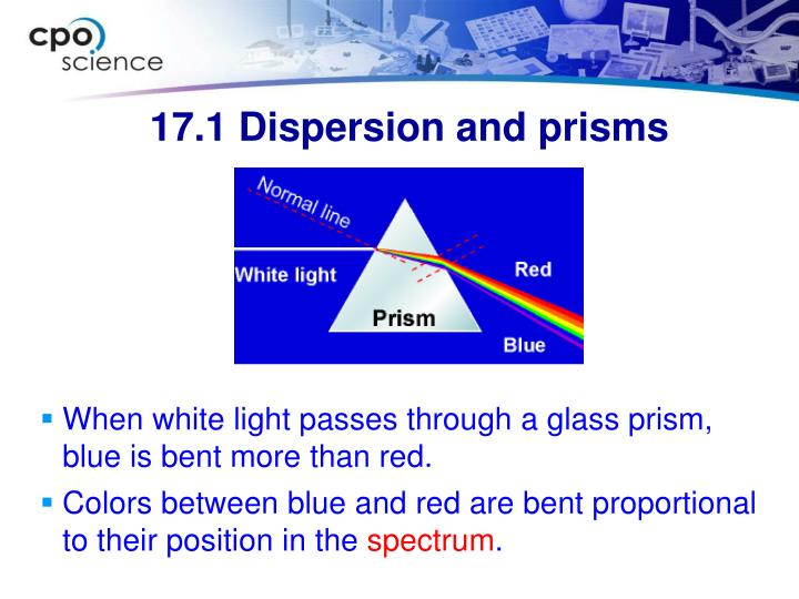 When white light passes through a glass prism, blue is bent more than red.