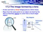 17 2 the image formed by a lens