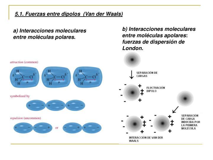 5.1. Fuerzas entre dipolos  (Van der Waals)