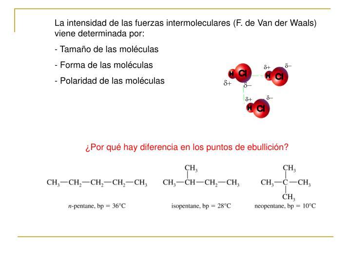 La intensidad de las fuerzas intermoleculares (F. de Van der Waals) viene determinada por: