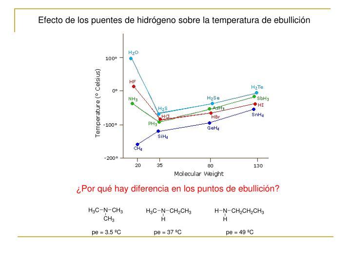 Efecto de los puentes de hidrógeno sobre la temperatura de ebullición