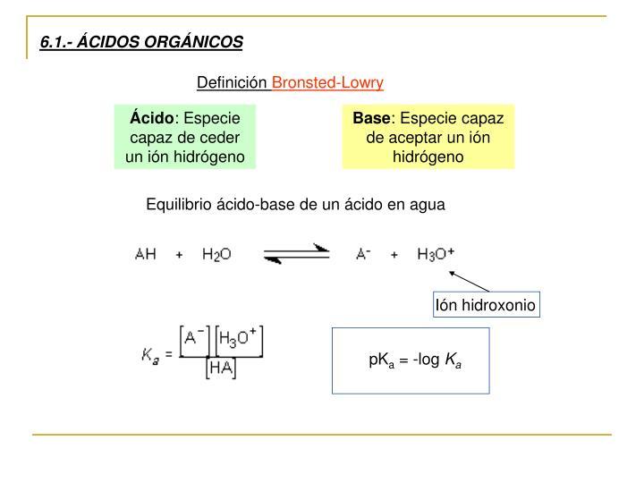 6.1.- ÁCIDOS ORGÁNICOS