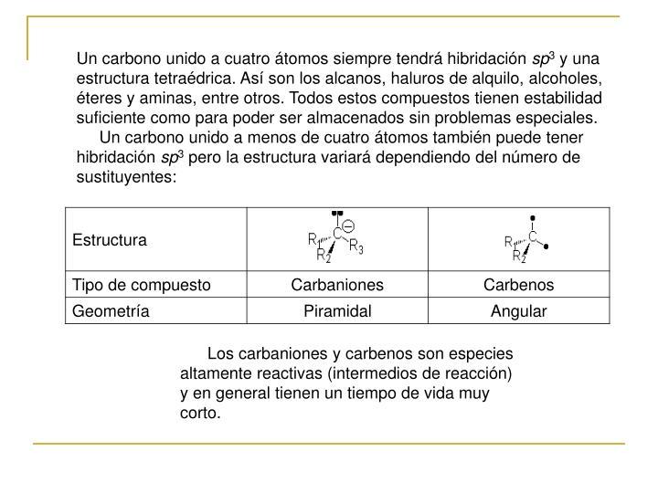 Un carbono unido a cuatro átomos siempre tendrá hibridación