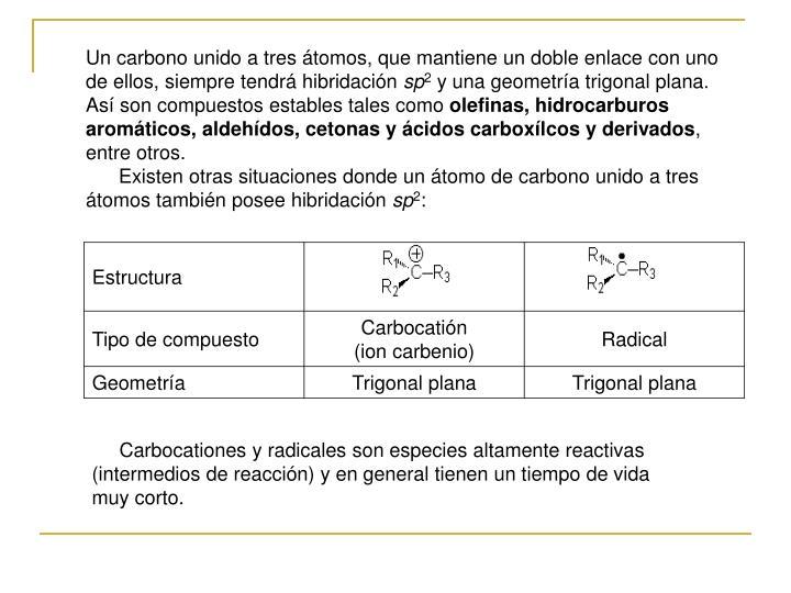 Un carbono unido a tres átomos, que mantiene un doble enlace con uno de ellos, siempre tendrá hibridación