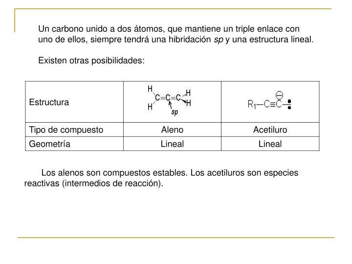 Un carbono unido a dos átomos, que mantiene un triple enlace con uno de ellos, siempre tendrá una hibridación