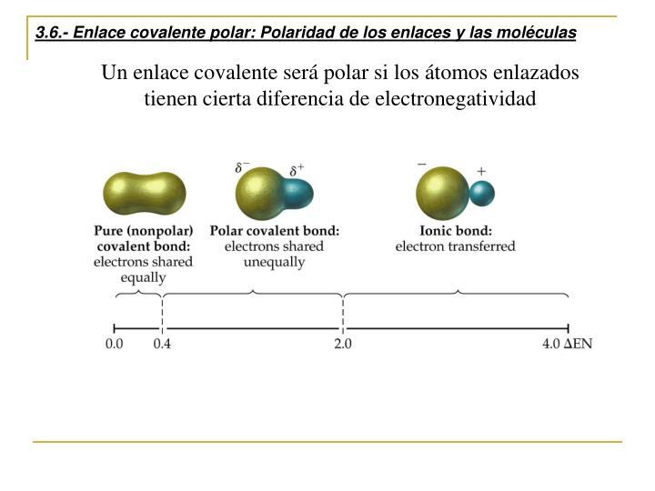 3.6.- Enlace covalente polar: Polaridad de los enlaces y las moléculas