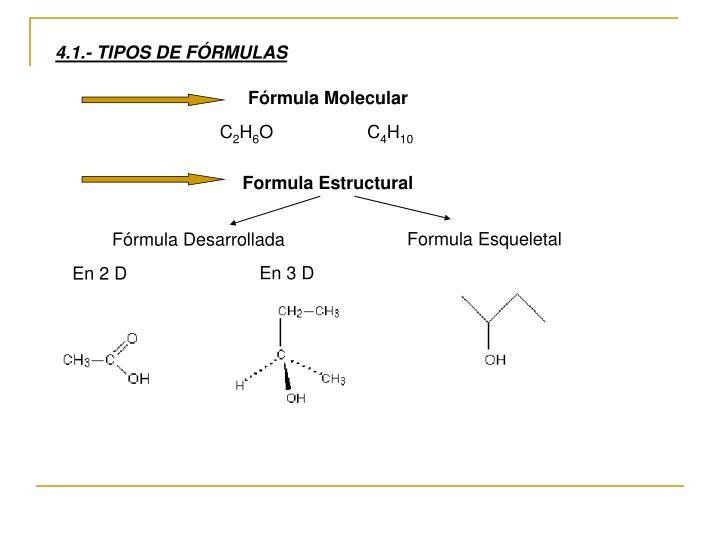 4.1.- TIPOS DE FÓRMULAS
