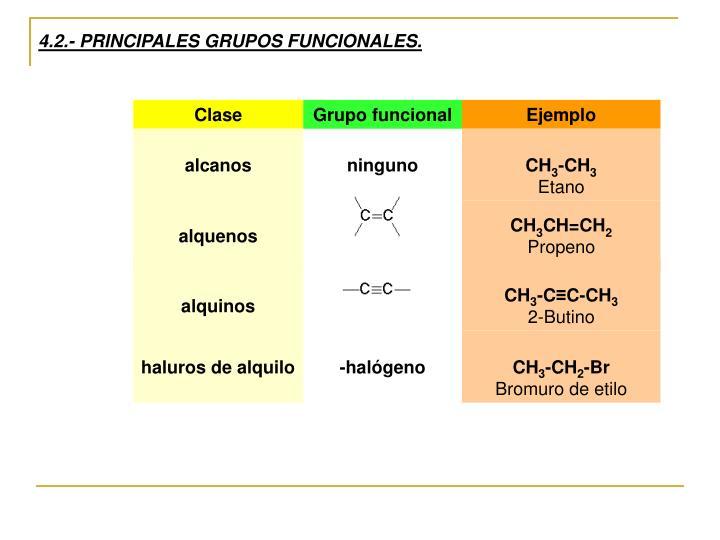 4.2.- PRINCIPALES GRUPOS FUNCIONALES.
