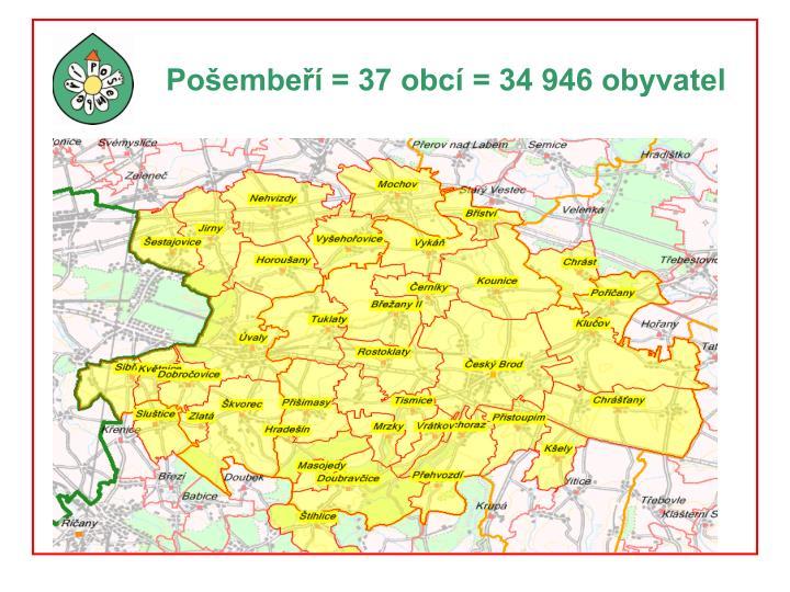 Pošembeří = 37 obcí = 34 946 obyvatel