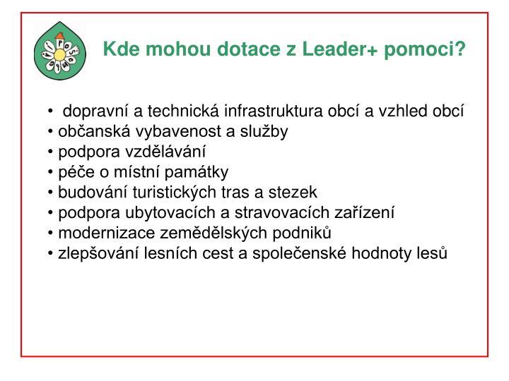 Kde mohou dotace z Leader+ pomoci?