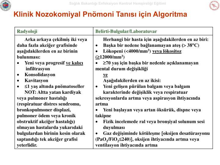 Klinik Nozokomiyal Pnömoni Tanısı için Algoritma
